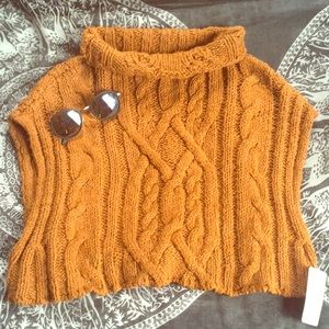 Free People Cropped Twisted Cable Sweater